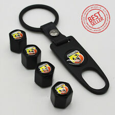 Black Car Wheel Tire Valve Dust Stems Air Caps Keychain With Fiat Abarth Emblem