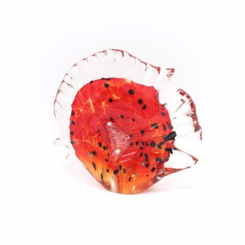 "New 8/"" Hand Blown Art Glass Butterfly Fish Figurine Sculpture Red Black Clear"