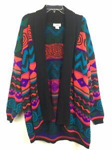 Vintage-Yarn-Works-XL-Womens-sweater-Cardigan-Long-thick-Chunky-Knit-USA-Retro