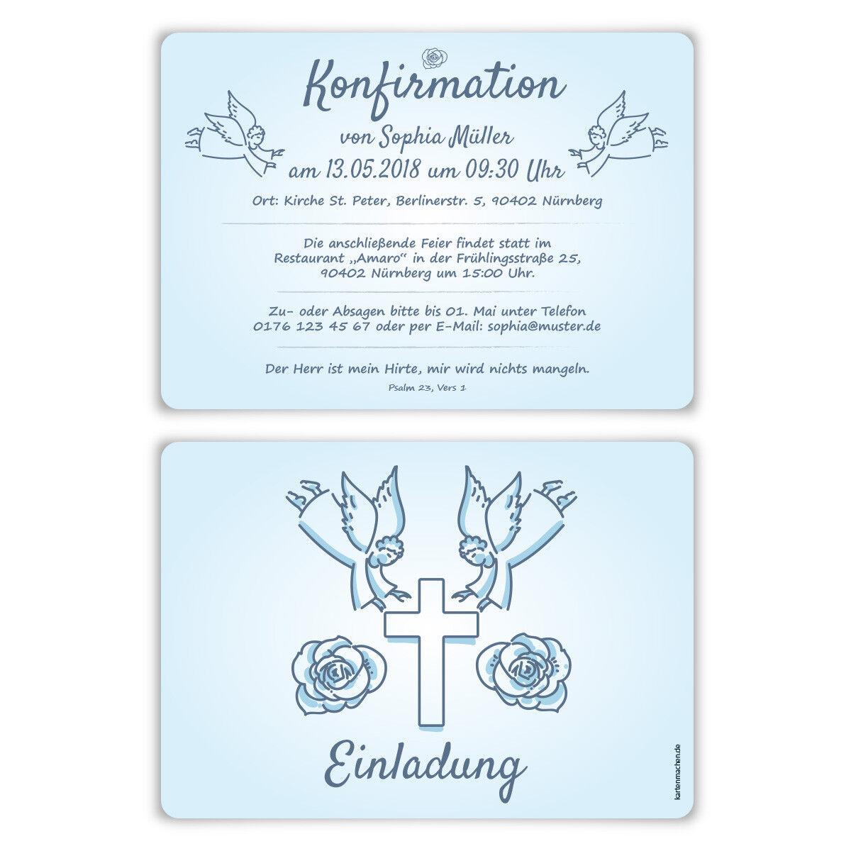Konfirmation Einladungskarten Konfirmationskarten Einladungen - Engelberührung