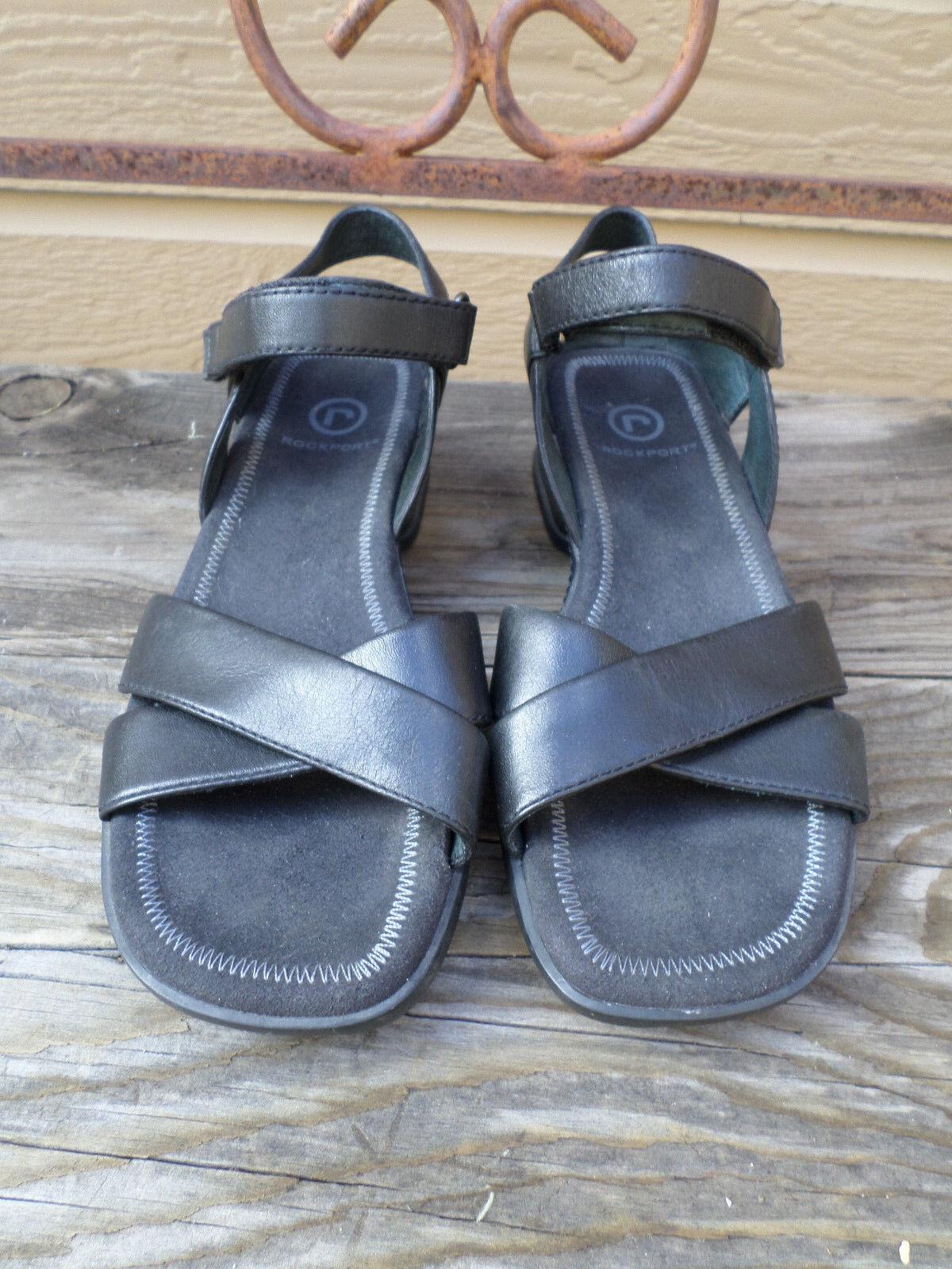 Rockport Black Black Rockport Leather Sandals Women's 6 M 7eddeb