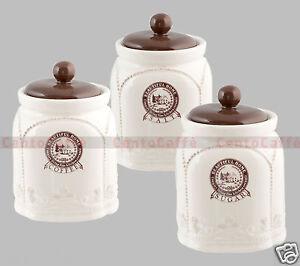 3 Barattoli Caffè Sale Zucchero in Porcellana stile Country ...