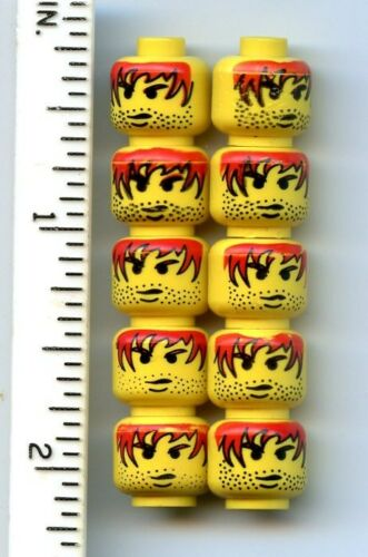 Stubble Pattern LEGO x 10 Yellow Minifig Head Male Red Hair with Black Outline