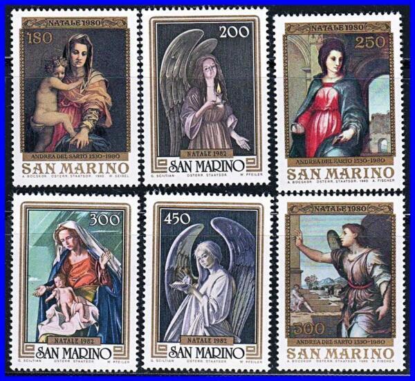 100% Vrai San Marino 1980/82 Noël/peintures Par Del Sarto, Etc. Neuf Sans Charnière Religion