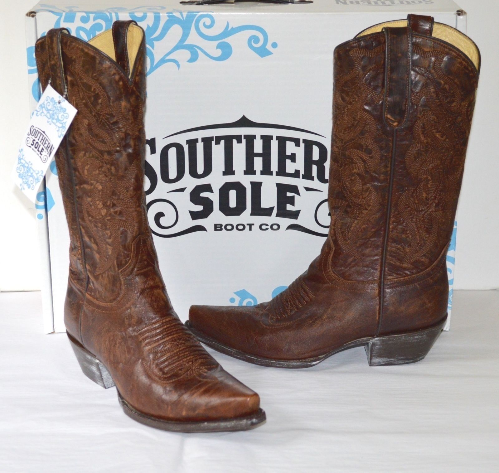 New  229 Southern Sole Boot Co Western Cowboy Tall Stivali Brass BEL-FW04STL-1