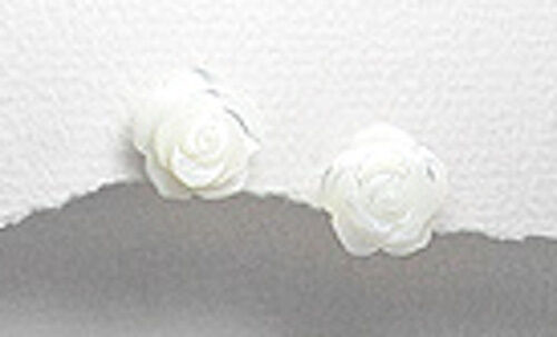 Details about  /Solid Sterling Silver Genuine Carved Mother of Pearl Rose Stud Earrings 10mm