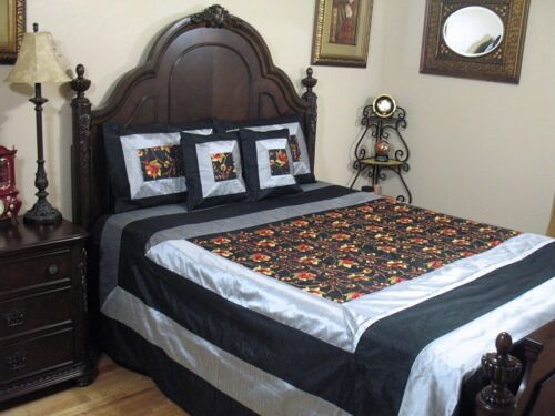 Designer Linens Bedding Bedspread Black Embroidery Elegant Bedroom Decor Queen