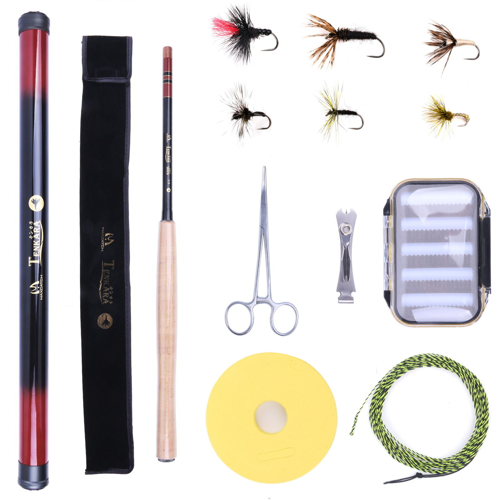 Tenkara Fishing Outfit 12FT Fly Rod Combo Tenkara Fishing Pole&Line&Box&Flies