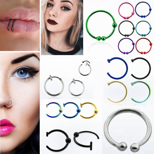 Fake Nose Ring Lip Sterling Silver Under Gold Plate Cheat Piercing