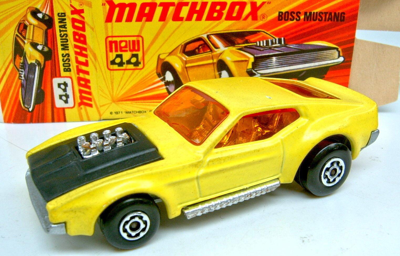 MATCHBOX SF N. 44b BOSS Mustang Giallo & Nero argentate piastra di base in box