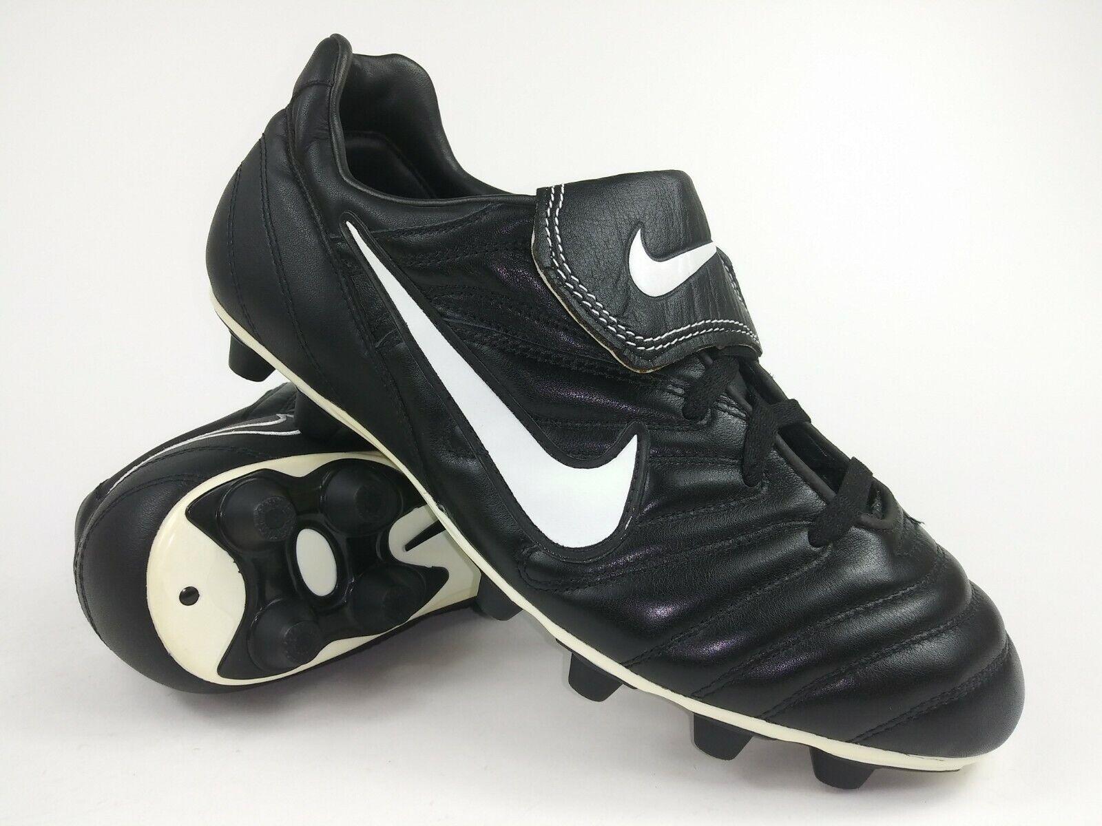 Nike Hombre Raro Tiempo 2000 Fg 117223 011 Negro blancoo Fútbol Tacos botas de