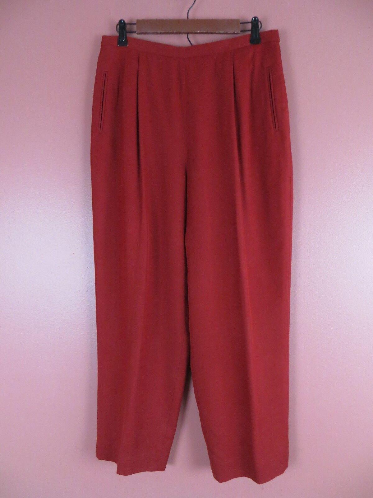 PNS0945-VALERIE STEVENS Womens Silk Dress Pants Pleat Front Dark Red Sz 14P MINT
