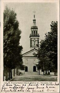 Vincennes-Indiana-St-Francis-Xaviers-Catholic-Church-1905-B-amp-W-Postcard