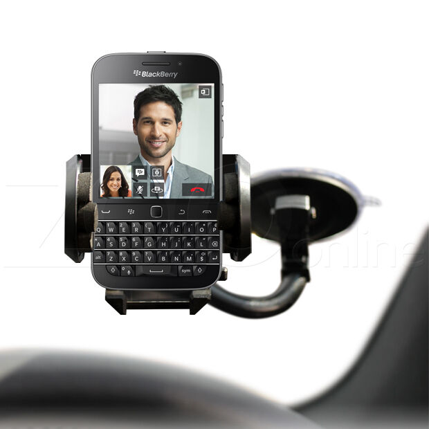 IN CAR WINDSCREEN HOLDER MOUNT WITH MICRO USB CHARGER FOR BLACKBERRY Q20 CLASSIC