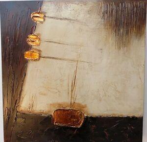 Quadro a olio realizzato a mano molto materico cm 50x50 industrial style dipinto