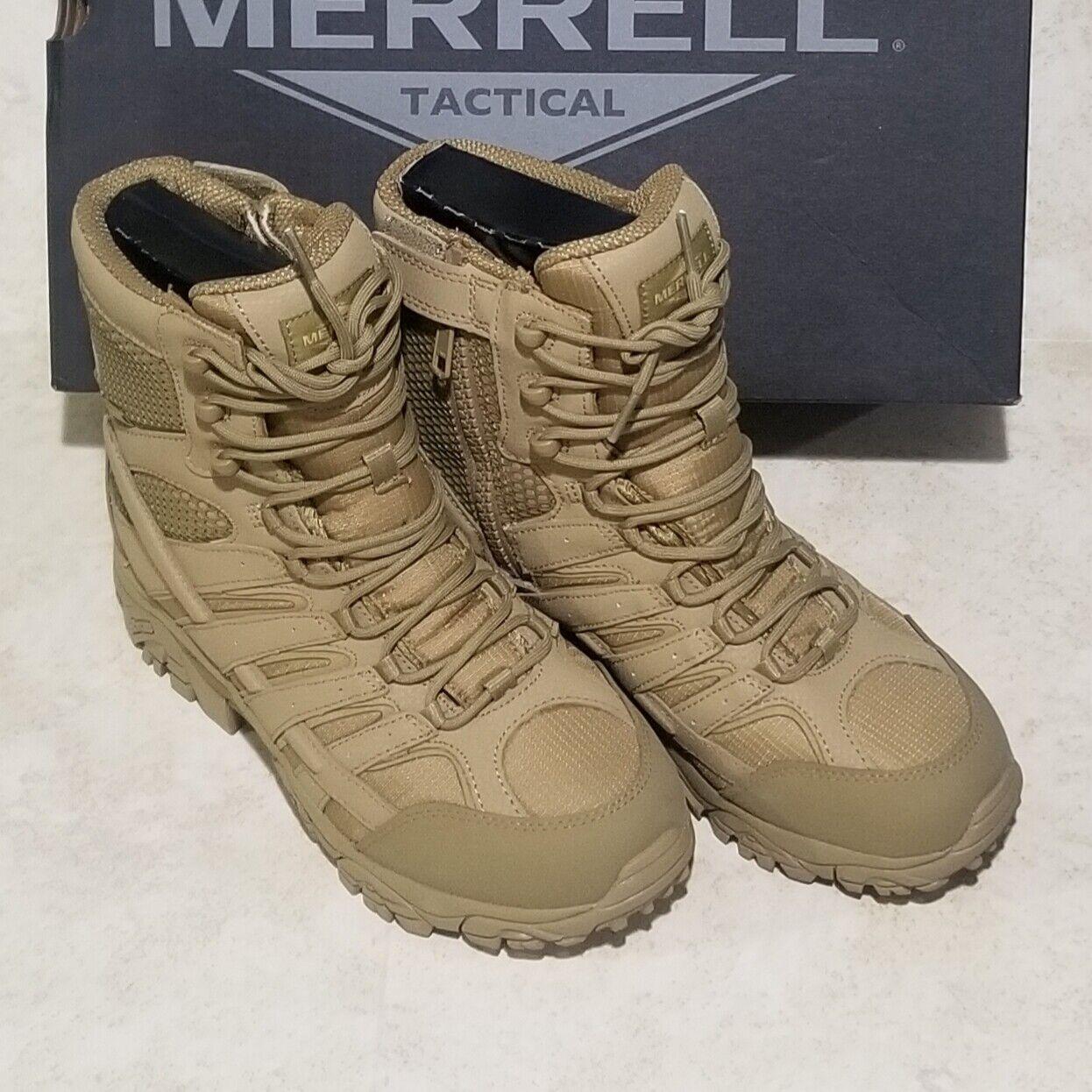 "Merrell Men/'s J15841 Moab Side Zip Soft Toe Waterproof  8/"" Tactical Boot Coyote"