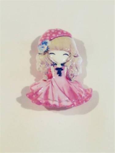 CG2476.. 3D Resina Broche-Chica En Vestido Rosa-libre de Reino Unido P/&p