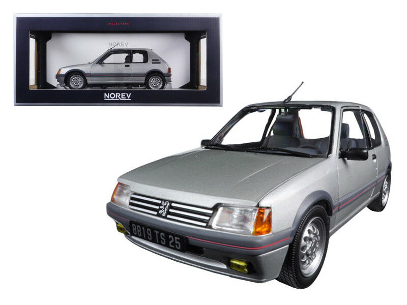 118 Norev 1988 PEUGEOT 205 GTI 1.6 FUTURA Grigio modellololo Diecast argentoo Grigio 184852