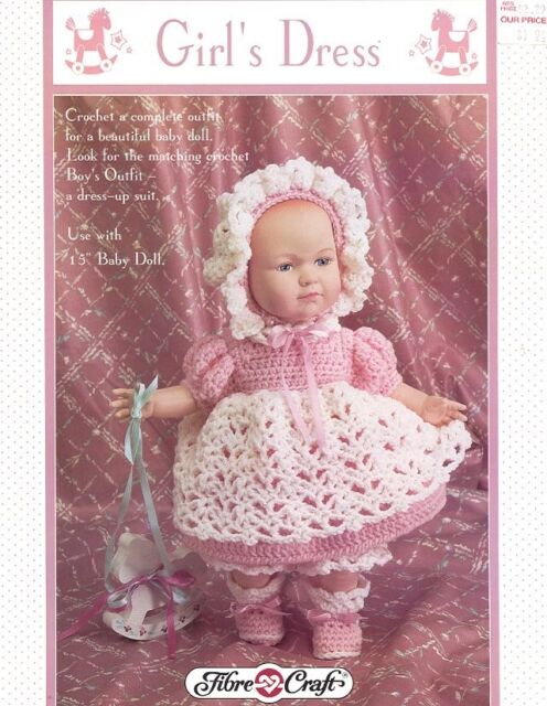 Girls Dress Crochet Pattern Fcm317 By Fibre Craft For 15 Inch Baby