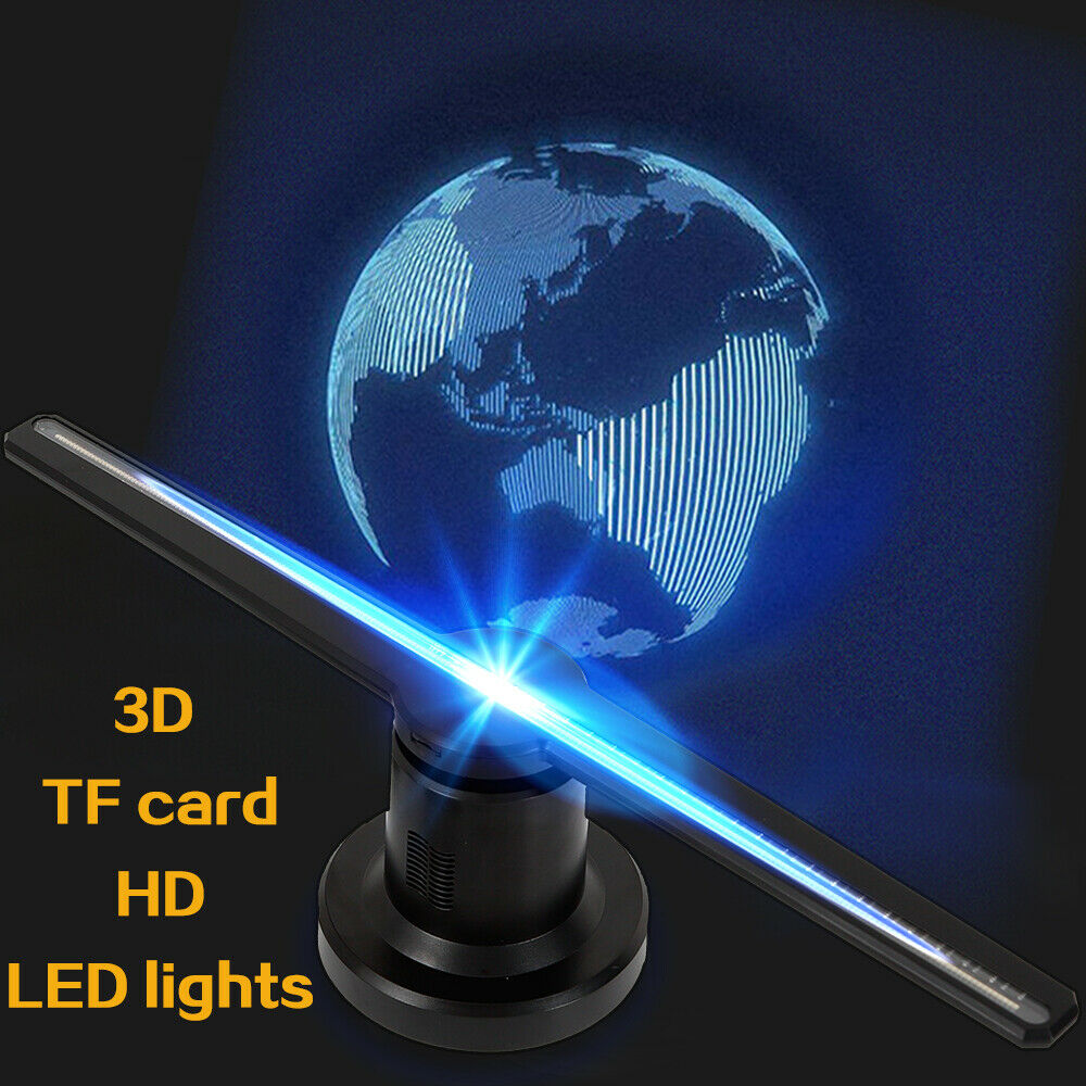 Proyector Holograma 3D LED Holographic Adverdeisement Display Fan+TF Card DE