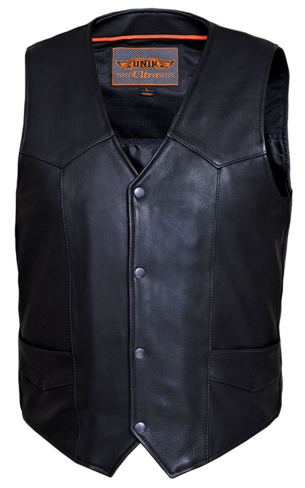 Herren Premium Naked Leder Motorcycle Vest with Plain Sides (V330)