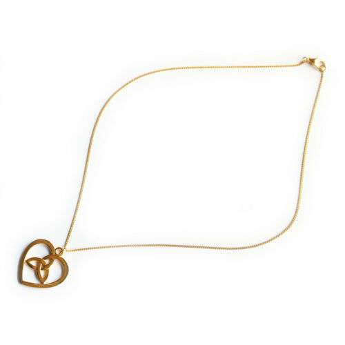 Heart Celtic Knot Charm Pendant Necklace with 17inch Gold Plated Fine Chain