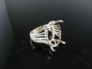 D6073 Ring Setting Sterling Silver Size 7.25 11x9 Oval Gemstone