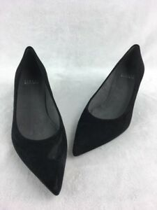 06cd7edbabf Image is loading Stuart-Weitzman-Poco-Black-Suede-Kitten-Heel-Pumps-