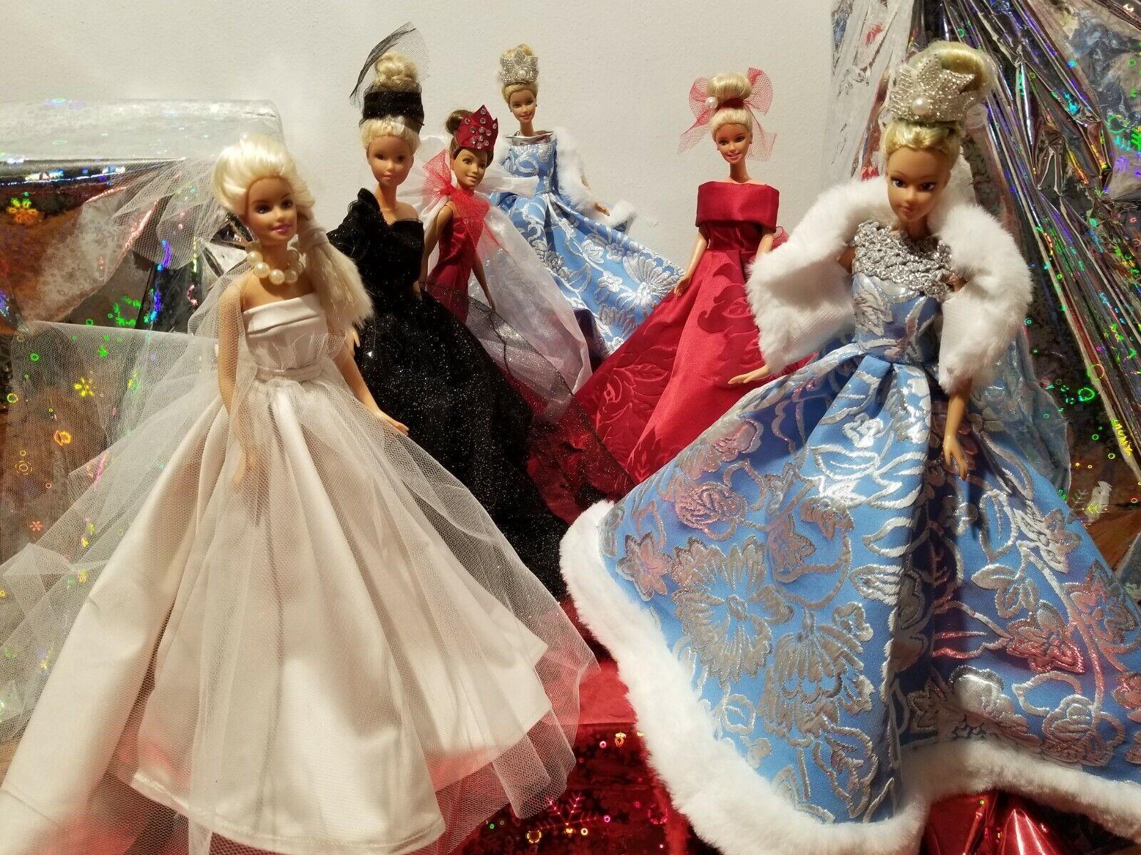 Abiti sartoriali per Barbie taglia unica realizzati a mano con tessuti ricercati