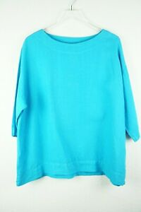 Bryn-Walker-S-100-Linen-Boxy-Top-Blouse-Blue-3-4-Sleeves-Lagenlook-Flattering