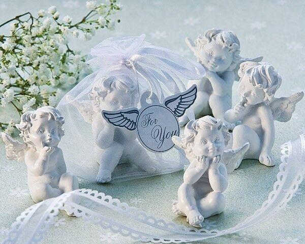 24 Little Angel Cherub Figurine Baptism Baby Shower Wedding Favor in Organza Bag