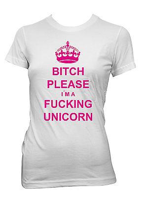 Bitch Please Unicorn Girlie T-Shirt White Blogger Hipster Einhorn  Regenbogen