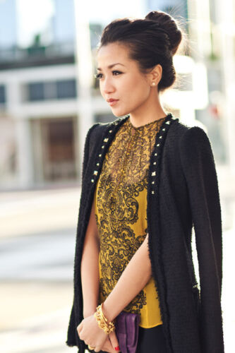 Blazer Black Zara Tweed Studs Boucle Ny Jacket Struktureret Med Fantasy Small S XZpfZq