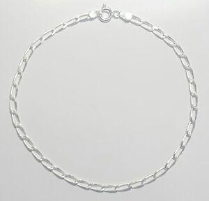 Open Link Ankle Bracelet 10 inch Long 925 Sterling Silver 3mm wide Italy
