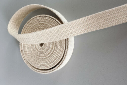 20mm Natural Beige 100/% Cotton CANVAS webbing strap tape Upholstery DIY @ 2 Yard