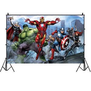 3*5ft 7*5ft// Avengers Birthday Party Photography Backdrop Vinyl Photo Background