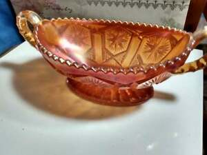 Imperial-Diamond-Lace-Marigold-Carnival-Glass-Two-Handled-Candy-Bowl