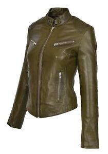 femme ajustée col coupe avec de montant pour biker cuir col Veste manteau zippé olive en RZW4WU