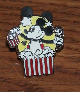 Genuine-Disney-Pie-Eye-Mickey-Mouse-with-Popcorn-Collectible-Trading-Pin-READ