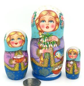 Babushka-Snowdrops-EASTER-3-Chicken-SMALL-Russian-Nesting-Dolls-Zamanova-signed