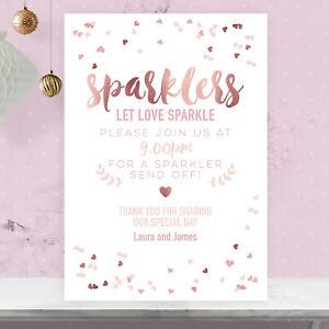 Personalised Wedding Sparkler Send Off Sign Rose Gold Effect Blush