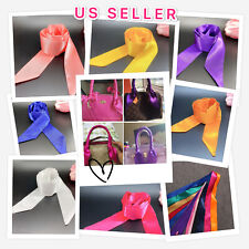 Silk Like Twilly scarf Solid Color Handbag Handle Wrap Purse Scarves Bow Ribbon