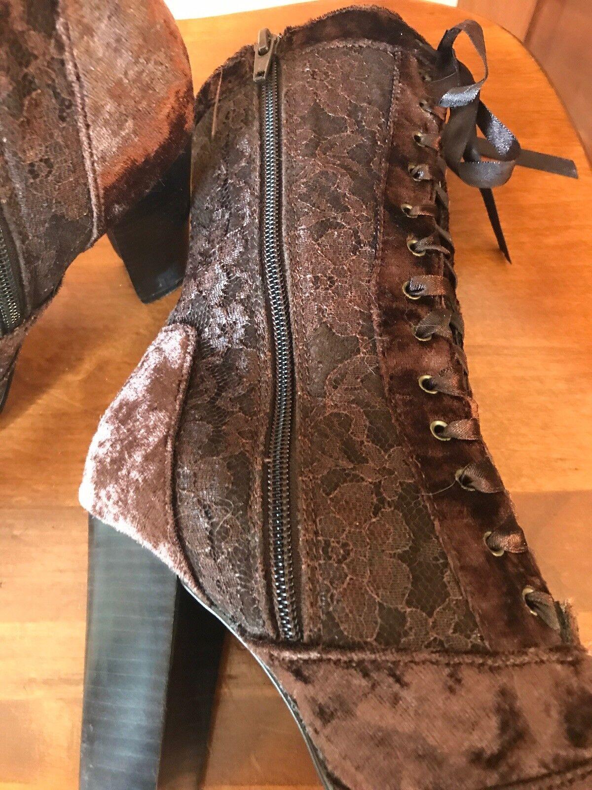 AMANDA SMITH VICTORIAN Stiefel braun VELVET & LACE HIGH HEEL TIE OR ZIP 6.5 M