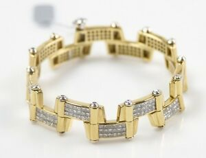 18k-Yellow-Gold-Diamond-Link-Bracelet-TDW-20-00-ct-Handmade-One-of-a-Kind