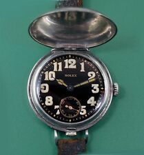 Antique Rolex Officers Military Trench Hooded Sterling Silver Wrist Watch Rare