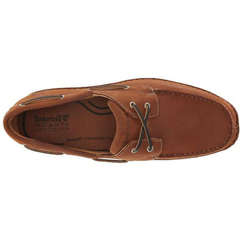 Timberland Men/'s Anapolis Moc Toe Medium Brown Leather Boat Shoes 74017