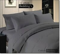 SALE 600-800-1000-1200 TC UK 100%Egyptian Cotton Dark Gray Color Duvet Set Solid