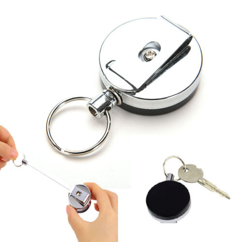 Retractable Pull Keychain Holder Reel Recoil Key Ring Belt Clip NEW BV!T Z5N VES