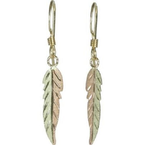 Stampers  10k Black Hills Gold Tri-Colored Feather Lever Back Earrings*