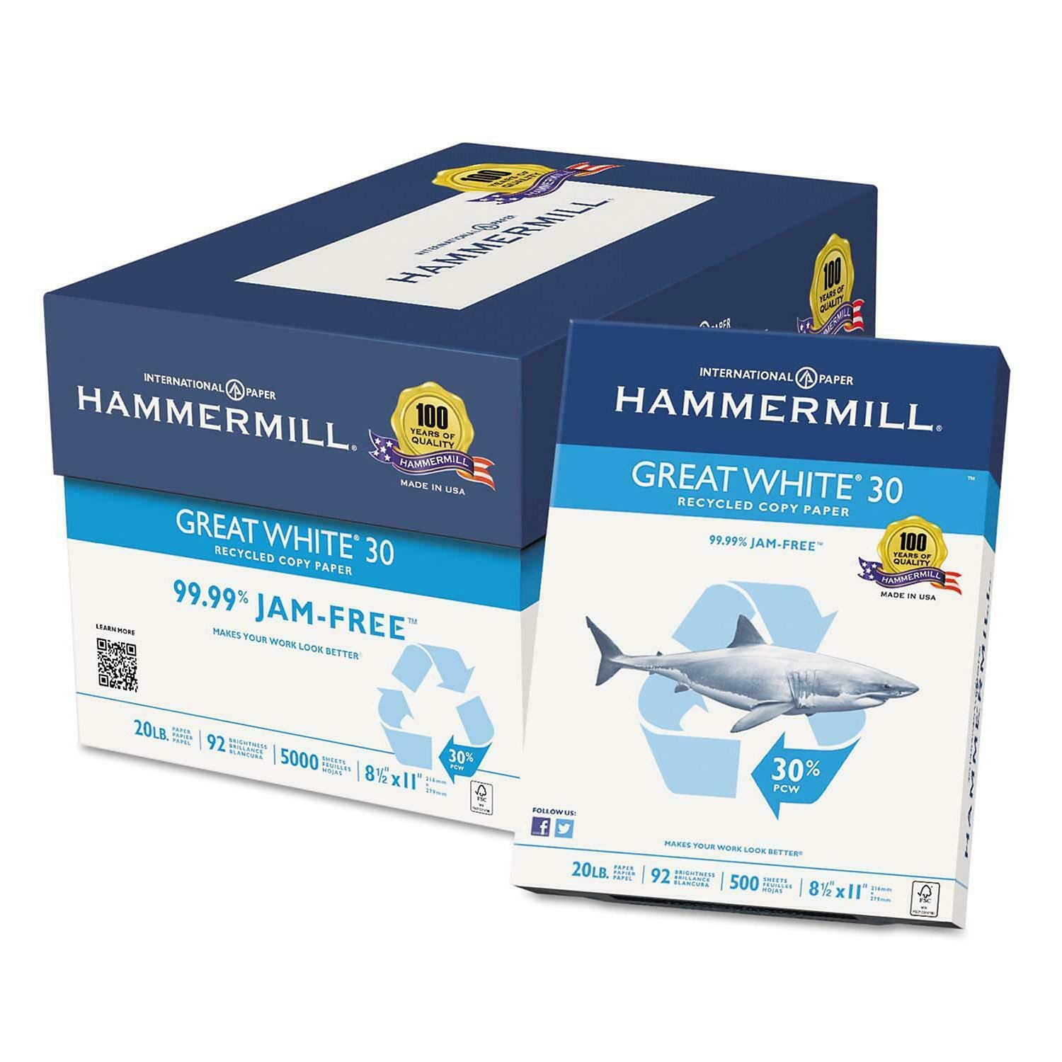 Hammermill - Great White 30% Recycled Copy Paper, 20lb, 92 Bright,